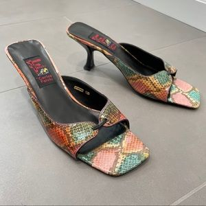 Vintage 80s Falchi Rainbow Python Square Toe Heels